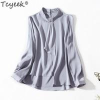 Tcyeek Real Silk Blouse Women Tops Green Blouses Long Sleeve Shirts Korean Fashion Clothing Spring Streetwear Blusas LWL1617