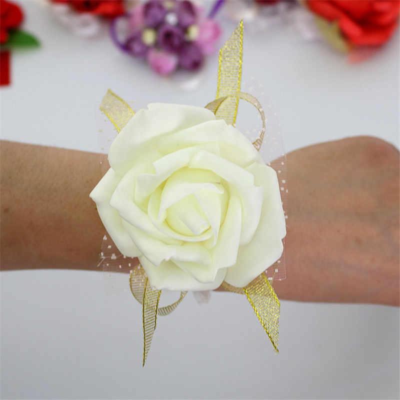 Pernikahan Dekorasi Mariage Rose Gelang Tangan Bunga Berkilau Renda PE Busa Buatan Pengantin Bridesmaid Bunga Natal