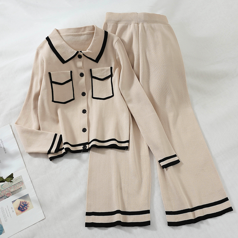 20797509600ab9 2019 spring Women set Knitted Turn Down Collar Fake Pockets Cardigan  Tops+wide Leg Pants Clothing Suits two Pieces Set