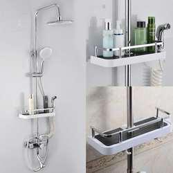 Retângulo de aço inoxidável banheiro organizador do chuveiro prateleiras rack armazenamento titular shampoo bandeja banheiro única camada cabeça titular