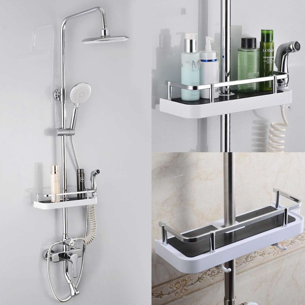 Stainless Steel Rectangle Bathroom Organizer Shower Shelves Storage Rack Holder Shampoo Tray Bathroom  Single Tier  Head Holder