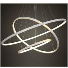 40, 60, 80 см, белая светодиодная люстра, современная, 3 кольца, светодиодная люстра, освещение для столовой, спальни, гостиной, внутреннего дома