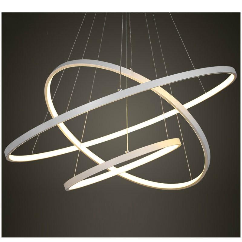 40 60 80 CM blanc Led lustre moderne 3 anneaux de cercle Led lustre éclairage pour salle à manger chambre salon intérieur maison