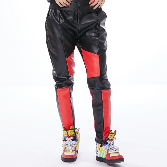 Heroprose New Fashion Jazz Women Men Harem Hip Hop Pu Faux Leather Pants casual Black Red Patchwork Street Trouser