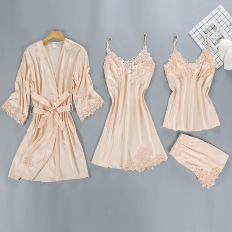 4 Pieces Satin Slik Sleep Lounge Ladies Sleepwear Female Sexy Women   Pajamas     Sets   Lace Summer Pyjama with Chest Pads