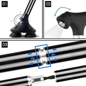 Klappbarer Spazierstock | Spazierstock Mit LED Tragbare Falten Ultraleicht Aluminium Legierung Nicht-Slip Outdoor Ältere LED Licht Sicherheit Spazierstock