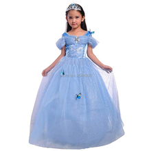 New Little Girl Princess Cinderella Costume Butterfly Cosplay Blue Dress Halloween Christmas Purim Holiday Party