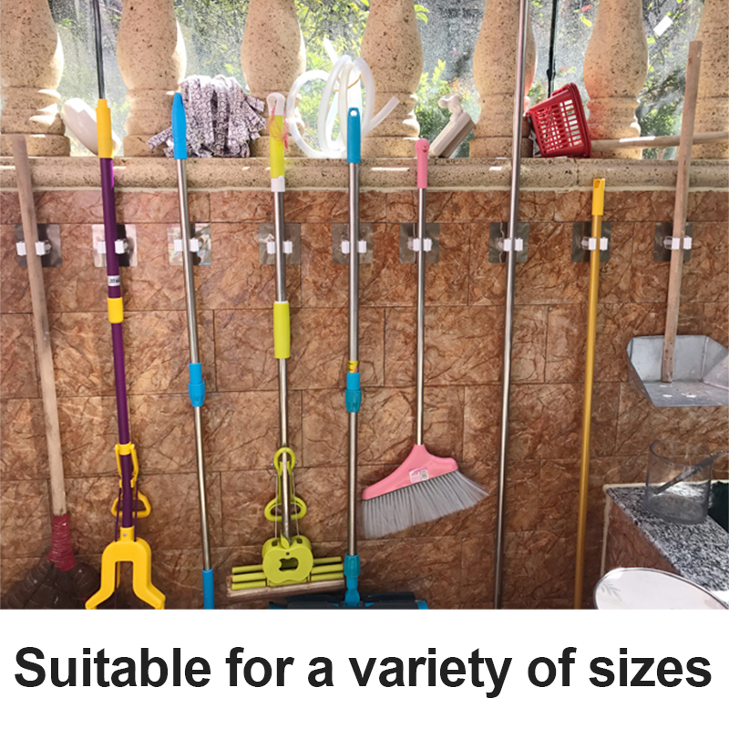 Wall Mounted Mop Organizer Holder Rack Self Sticking Brush Broom Hanger Hook Kitchen bathroom Mops storage Racks drop 1pc Strong title=
