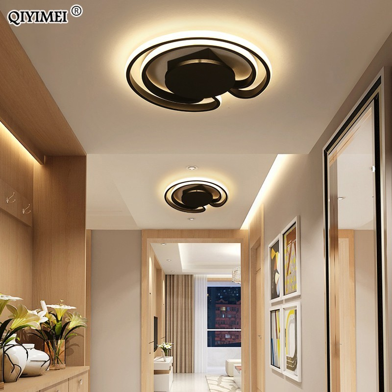Round White Black Frame Modern Led Ceiling Light Ac85~265v Indoor Bedroom Kitchen Lamps Study Foyer Light Free Shipping Dimmable Lights & Lighting