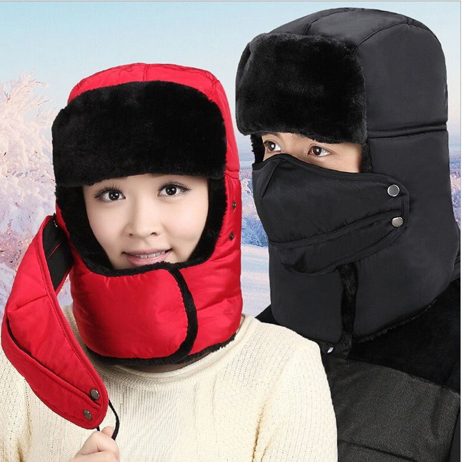 Cap Bomber-Hat Hats Winter-Mask Arflap Women Warm Full-Face-Cover