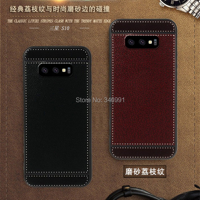 S10 Coque for Samsung galaxy S10 Case leather Soft Black silicone Classic litchi stripes Funda for Samsung galaxy S10 Phone Case