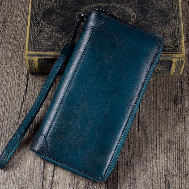 2019 New Original à la main portefeuille long femmes zipper embrayage portefeuille long en cuir rétro Véritable cuir grand Vintage Bourse D'argent