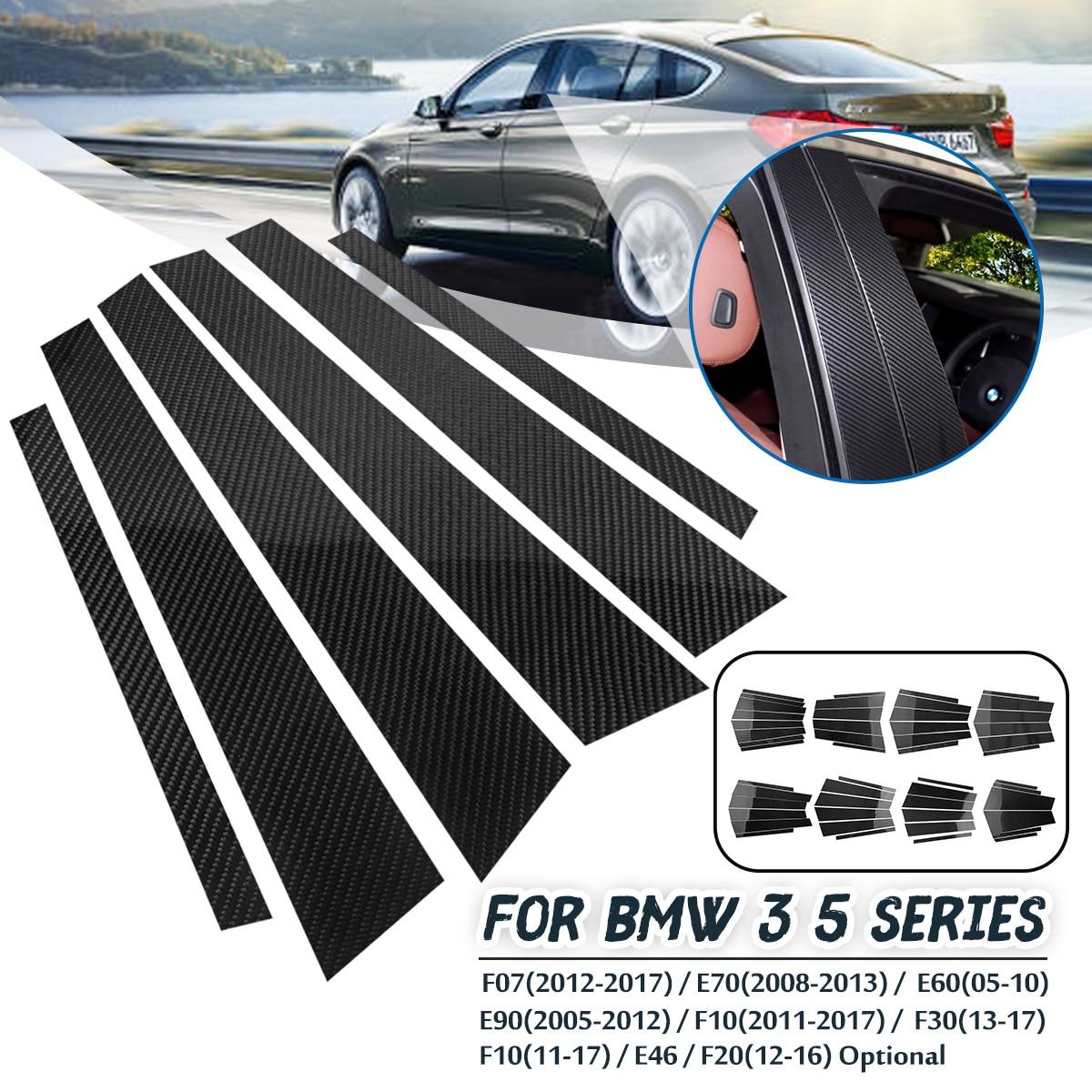 Car Window B-pillars Molding Trim Carbon Fiber Stickers for BMW 3 5 Series F07 E70 E90 F10 E60 F30 F10 E46 F20 Car Styling car styling central handbrake auto h button left side decorative cover trim for bmw 5 6 7 series f10 gt f07 auto accessories