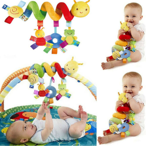 Newborn Baby Pram Bed Bells Soft Hanging Toys Animal Handbells Rattles Pushchair Pram Stroller Cot Bed Activity