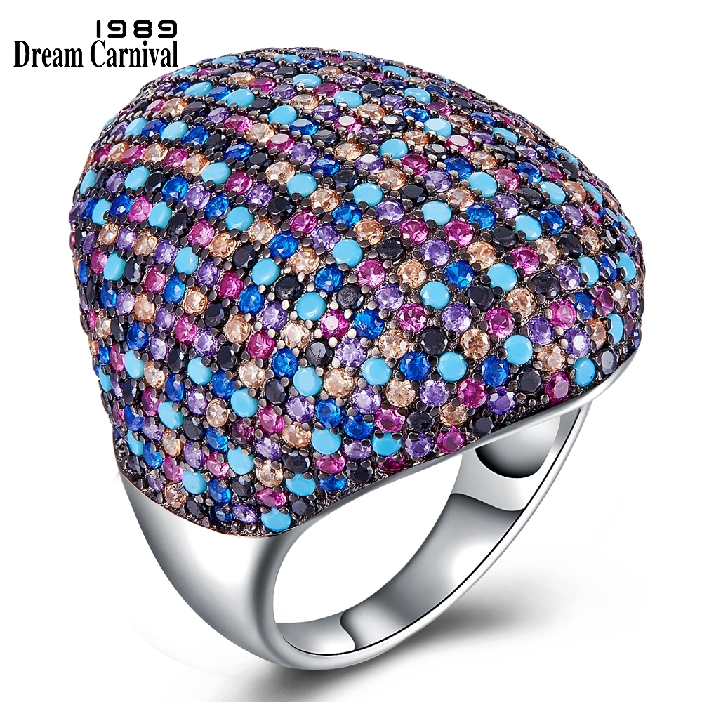 DreamCarnival 1989 New Gorgeous Big Silver Wedding Rings for Women Multi-Colors Zirconia Engagement Ring Drop Shipping SJ31020RBDreamCarnival 1989 New Gorgeous Big Silver Wedding Rings for Women Multi-Colors Zirconia Engagement Ring Drop Shipping SJ31020RB