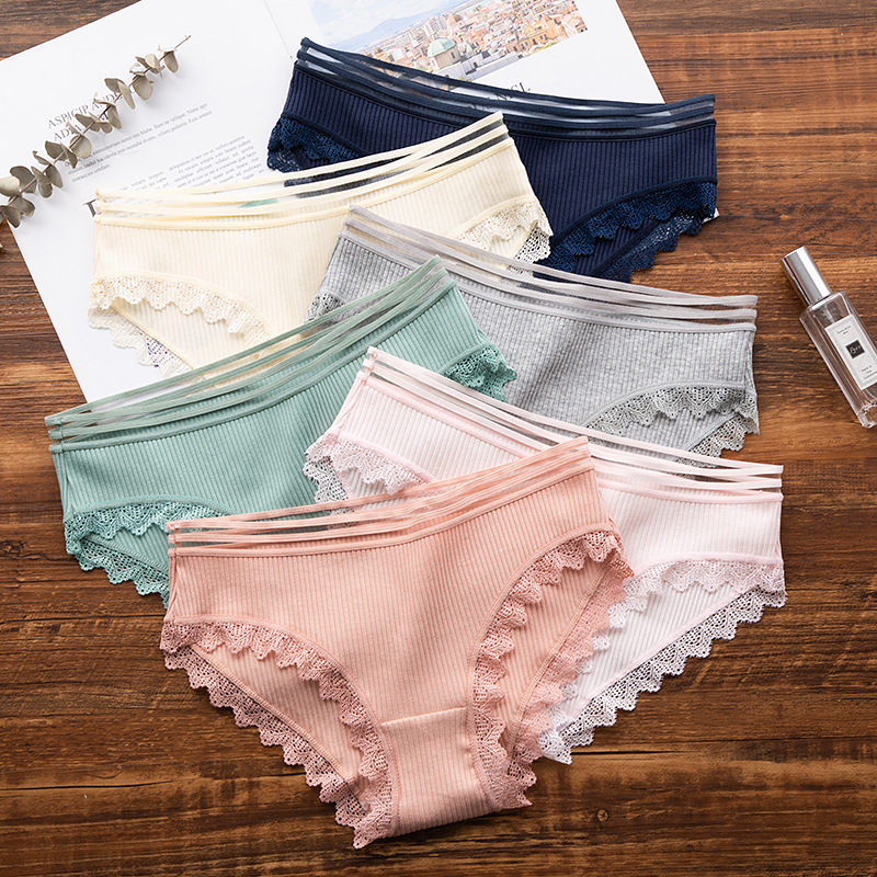 Sexy Lace   Panties   Women Fashion Cozy Lingerie Tempting Pretty Briefs High Quality Cotton Low Waist Cute Women Underwear