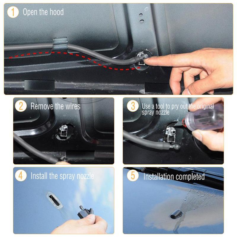 Image 2 - 2 шт. в комплекте Веерообразный распыления воды стеклоочиститель струйное мытье насадка с резиновой прокладкой автомобильные аксессуары для Ford Focu 2 Mk2 Mk3-in Фильтр омывателя ветрового стекла from Автомобили и мотоциклы