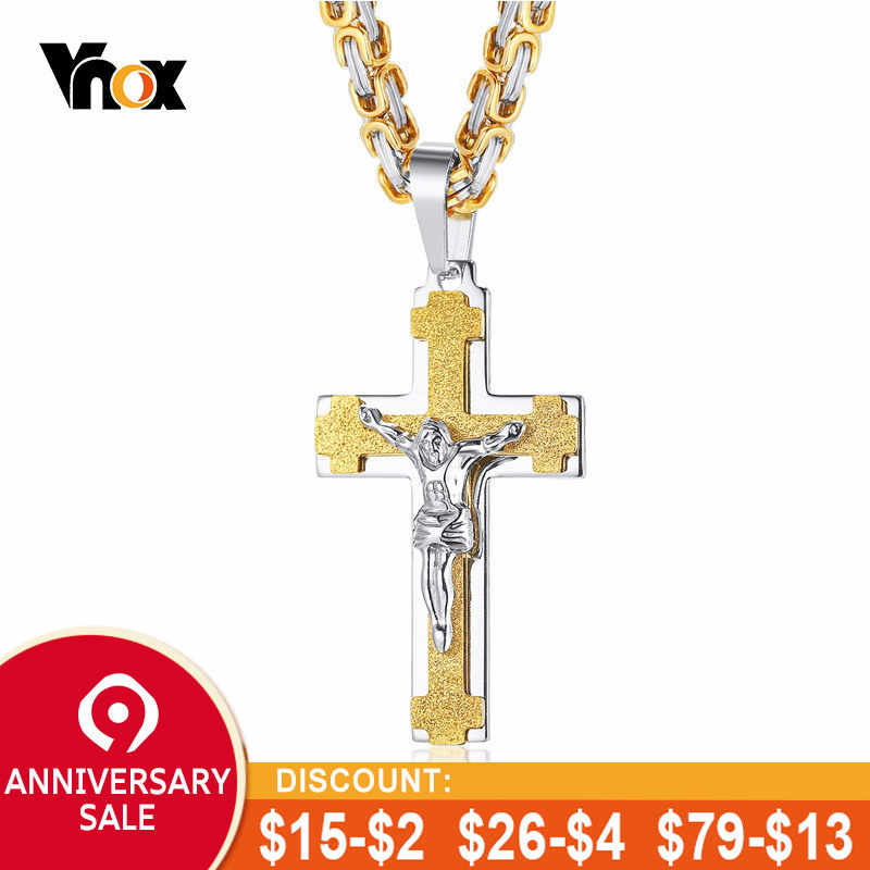 Vnox Jesus Christ Necklaces for Men Stainless Steel Cross Pendant Free  Byzantine Chain 24