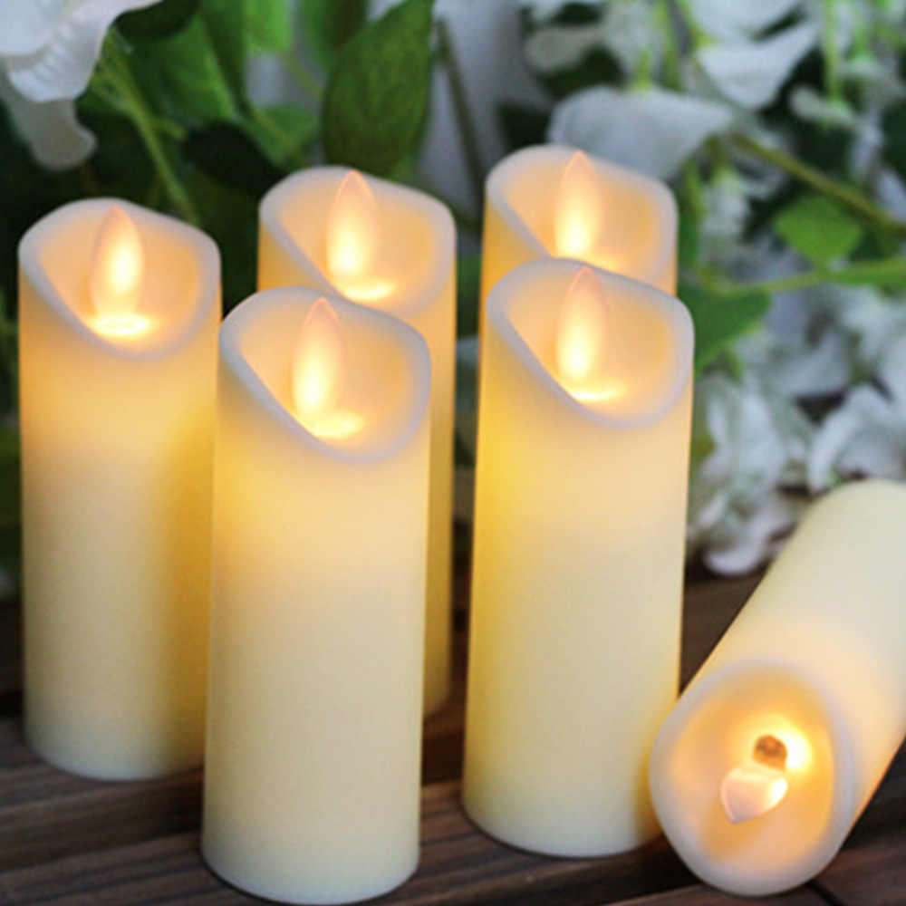 LED Electronic Flameless Swing Candle Candles Lights Battery Operated For Party Wedding Birthday Festival Romantic Dinner Decor