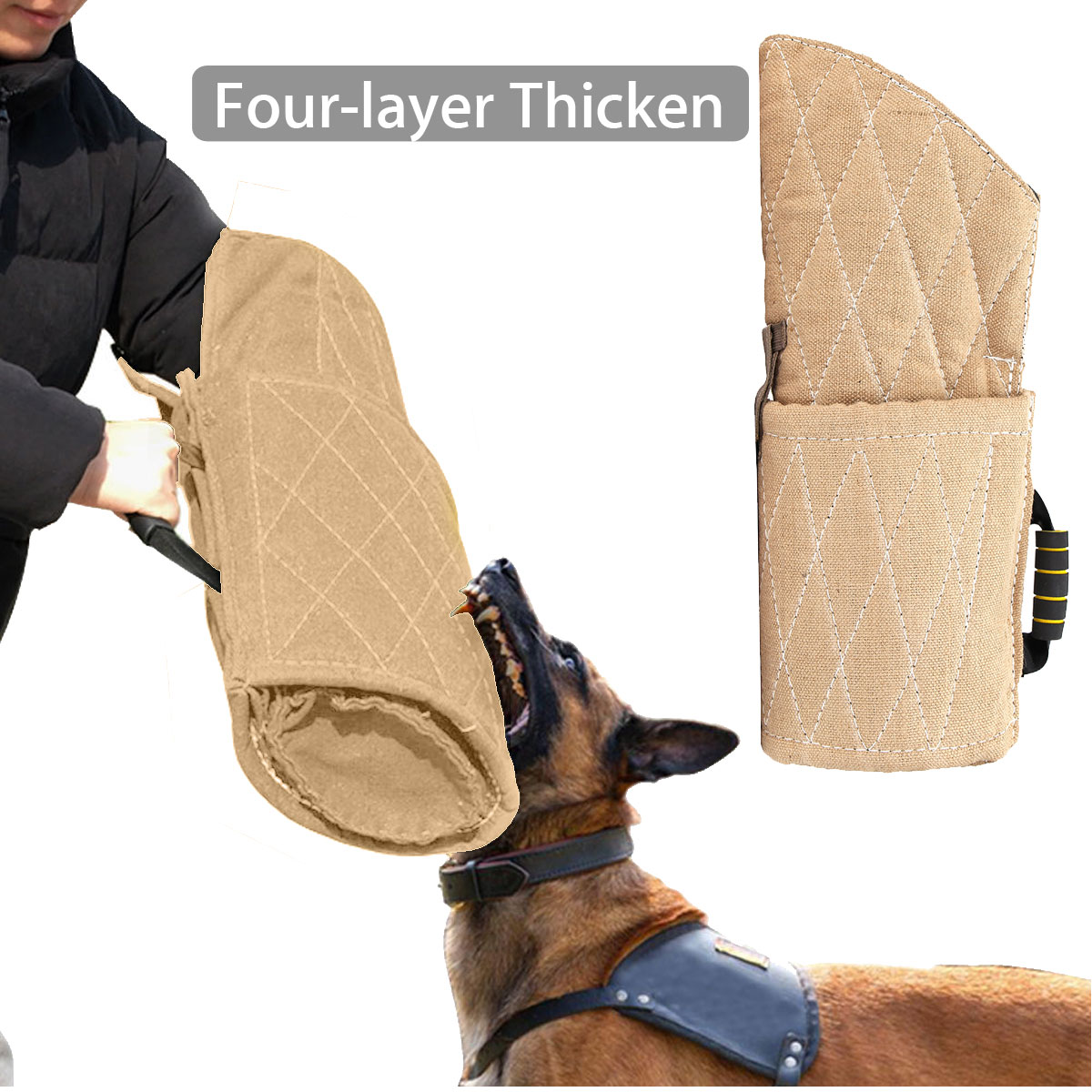 NEW Fibre Dog Training Bite Sleeve Grip Sleeve Tug Arm Protection For German Shepherd Young Pet