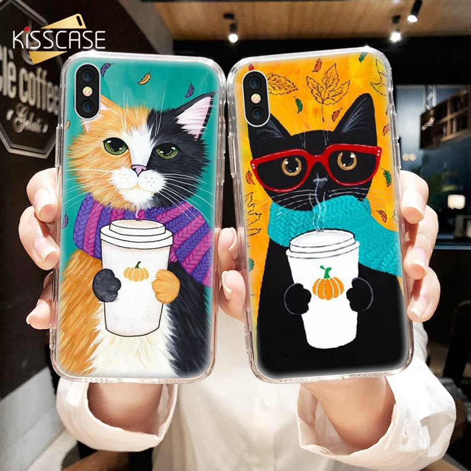 Funda KISSCASE para iPhone 7 8 Plus 6 6 S Plus funda bonita para café gato suave TPU fundas para iPhone 5 X 5S SE accesorios del teléfono