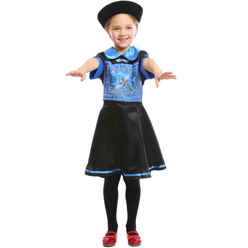 Chinese Zombie Costumes Cosplay Kids Children Qing Dynasty Of China Halloween Costume For Carnival Performance Party Suit