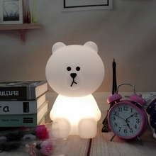 Cartoon Night Lamp Dimmable Bear Bunny Rabbit LED Night Light Children Baby Kids Birthday Christmas Gift Toy Animal Table Lamp цена