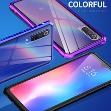Xiaomi Mi 9 Xiaomi9 Bumper Clear Tempered Glass Back Cover with Aluminum Metal Frame Case for Mi9 M9