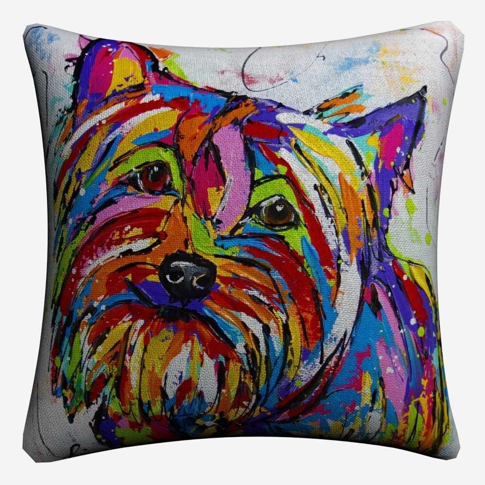 Westie Anjing Peliharaan Cat Air Seni Dekoratif Katun Linen Bantal Penutup 45 Cm X 45 Cm Bantal Case untuk Sofa Rumah dekorasi Almofada