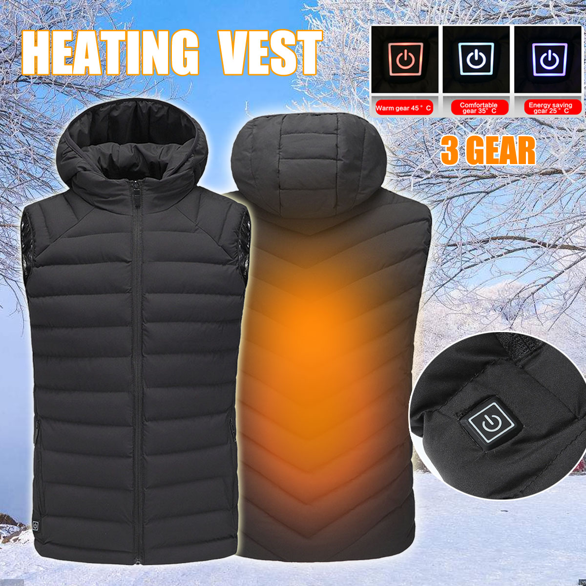 Safurance Mens Winter Safety Vest Heated Vest USB Hooded Work Jacket Safety Work Adjustable Temperature Control Clothes mens winter heated usb charge hooded work jacket coats vest adjustable temperature control safety clothing