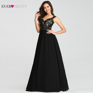 Image 2 - בציר אפליקציות שחור ערב שמלות ארוך פעם די EZ07783BK סקסי צווארון V שרוולים ספגטי רצועת פורמליות שמלות 2020
