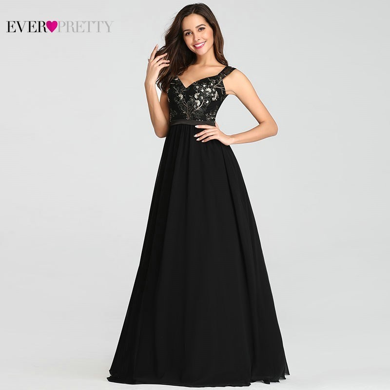 Image 2 - Vintage Appliques Black Evening Dresses Long Ever Pretty EZ07783BK Sexy V Neck Sleeveless Spaghetti Strap Formal Dresses 2019-in Evening Dresses from Weddings & Events
