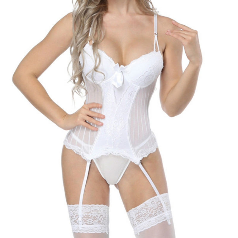 <font><b>Women</b></font> <font><b>White</b></font> <font><b>Sexy</b></font> Lace <font><b>Lingerie</b></font> Body shaping vest <font><b>Lingerie</b></font> Female Nightwear Underwear G-string <font><b>Babydoll</b></font> Sleepwear <font><b>Dress</b></font> image