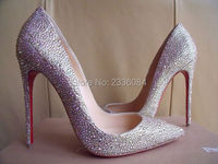 Red Sole Brand Wedding Pumps Women Crystal High Heels Pointed Toe Diamonds Shoes Red Bottom Slip On Heels Bridal Dress Pumps