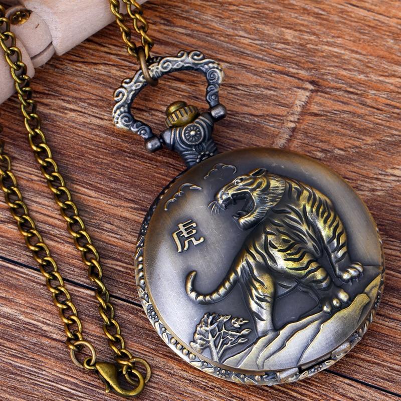 Pocket & Fob Watches Chinese Zodiac Animal  Tiger Quartz Pocket Watches Vintage Fob Watches  Gift for Men/Women