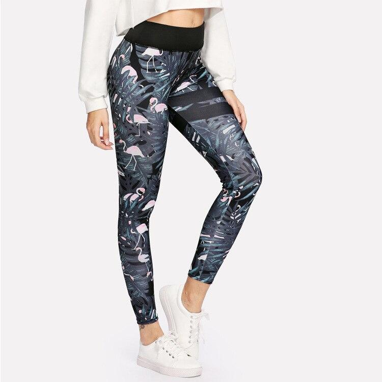 High Quality Women High Waist Legging Flamingo Magico Colors Printing Fashion Leggings Fitness Woman Pants