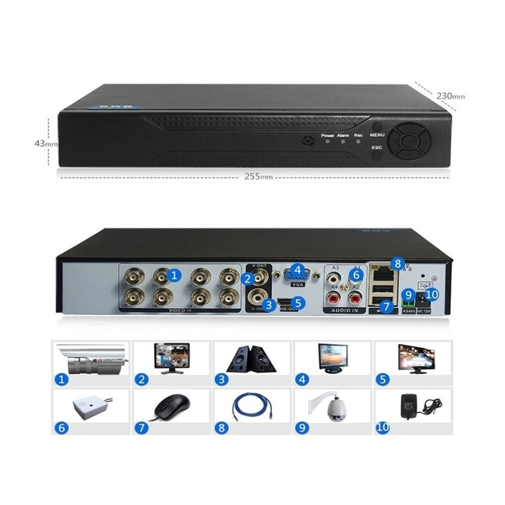 4/8 Channels 1080P H.264 DVR Monitor Security NVR 960H Recorder DVR P2P Hard Disk Video Recorder Digital Analog 1 Machine 3 Uses protector s1004v 4 ch h 264 hard disk digital video recorder w wired mouse black