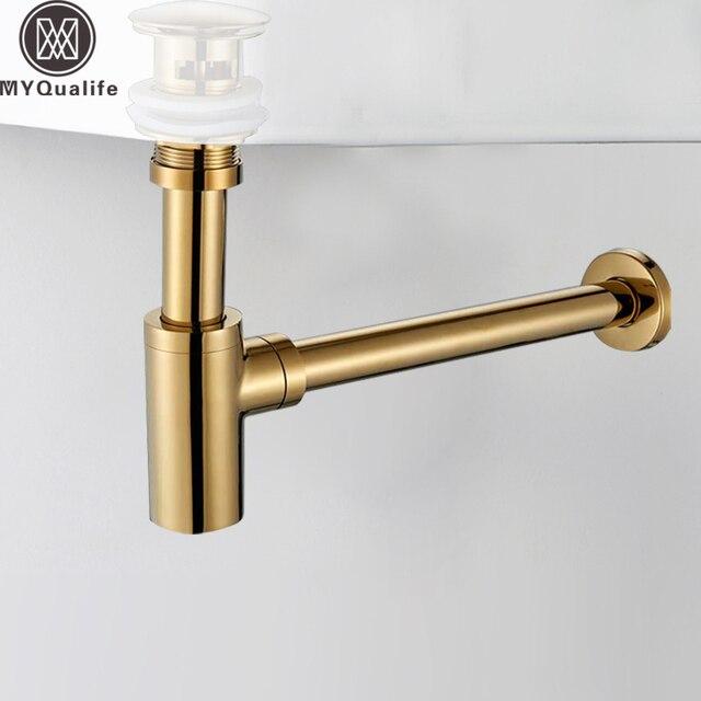 Golden Bathroom Basin Sink Tap Bottle Trap Drain Kit Waste ...