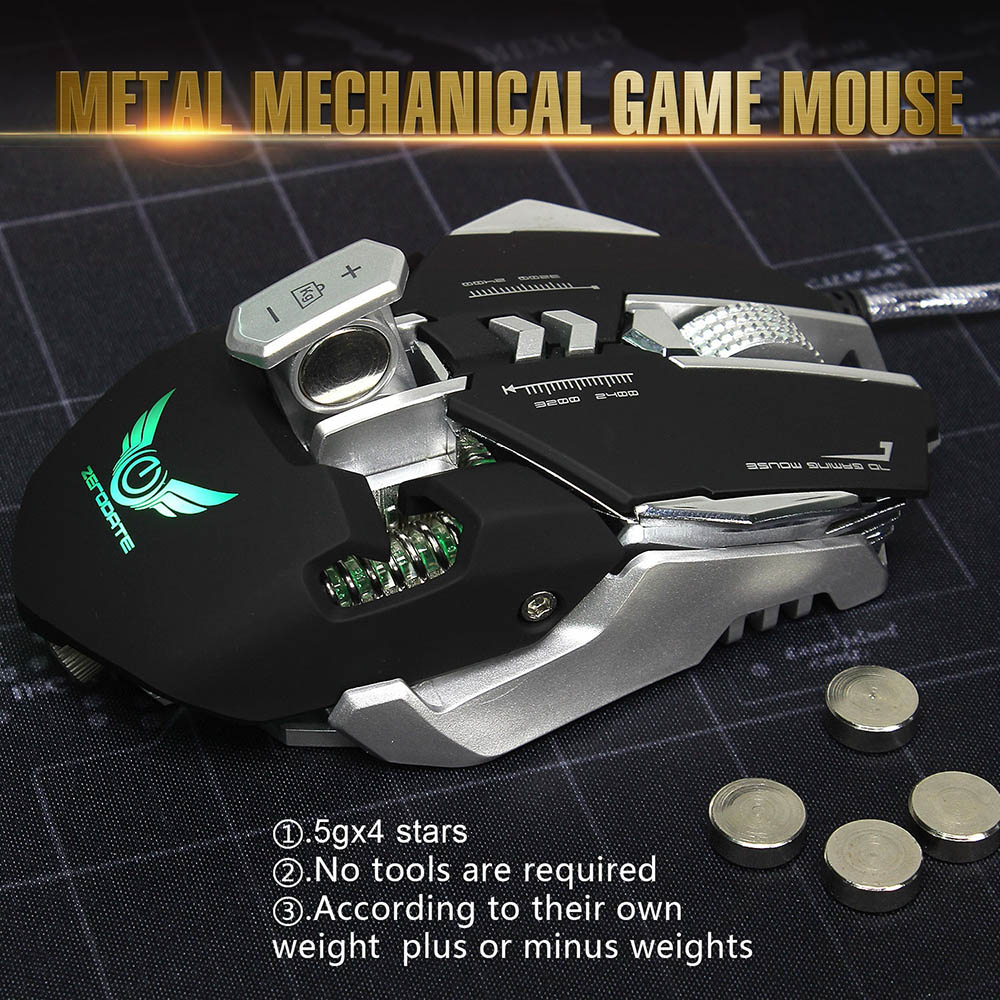 ZERODATE 3200 DPI 7 Programmable Buttons Competitive Gaming Mouse USB Wired Mechanical Macro Definition Programming Game Mice