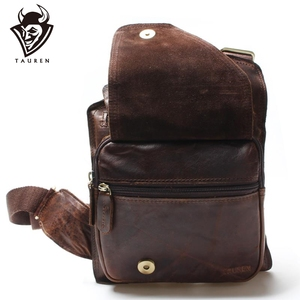 Image 1 - New High Quality Vintage Casual Crazy Horse Leather Genuine Cowhide Men Chest Bag Small Messenger Bags For Man  Shoulder Bags