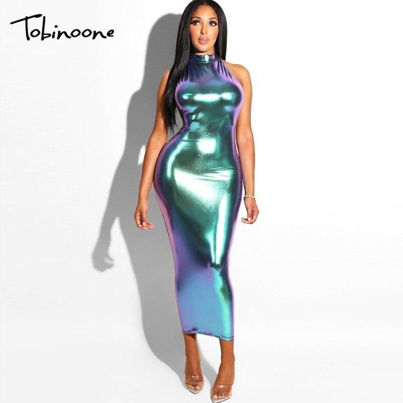 Tobinoone 2018 New Long Dress Halter Backless Women Party Dress Maxi Sexy Summer Dress Bodycon Sexy Club Bling Women Vestido