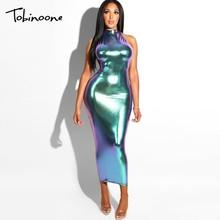Tobinoone 2018 New Long Dress Halter Backless Women Party Dress Maxi Sexy  Summer Dress Bodycon Sexy 93f3229f9028