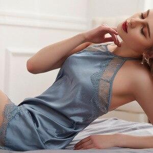 Image 5 - Lisacmvpnel Hollow Lace Fashion Woman Nightdress Shorts Twinset Pajamas Blackless Beautiful Back Sexy Sleepwear