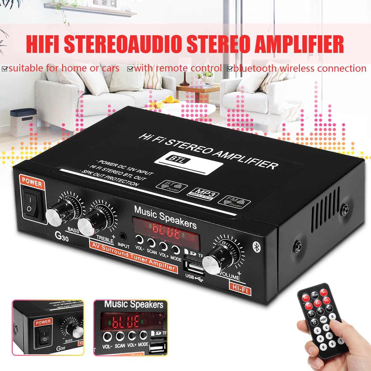 90 W 2CH LCD Display HIFI Audio Stereo Power Verstärker bluetooth FM Radio Auto Hause Fernbedienung Heimkino Verstärker