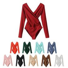 iSHINE Knitted Sexy Solid Color V Neck Long - Sleeved Spring Slim Rompers Womens