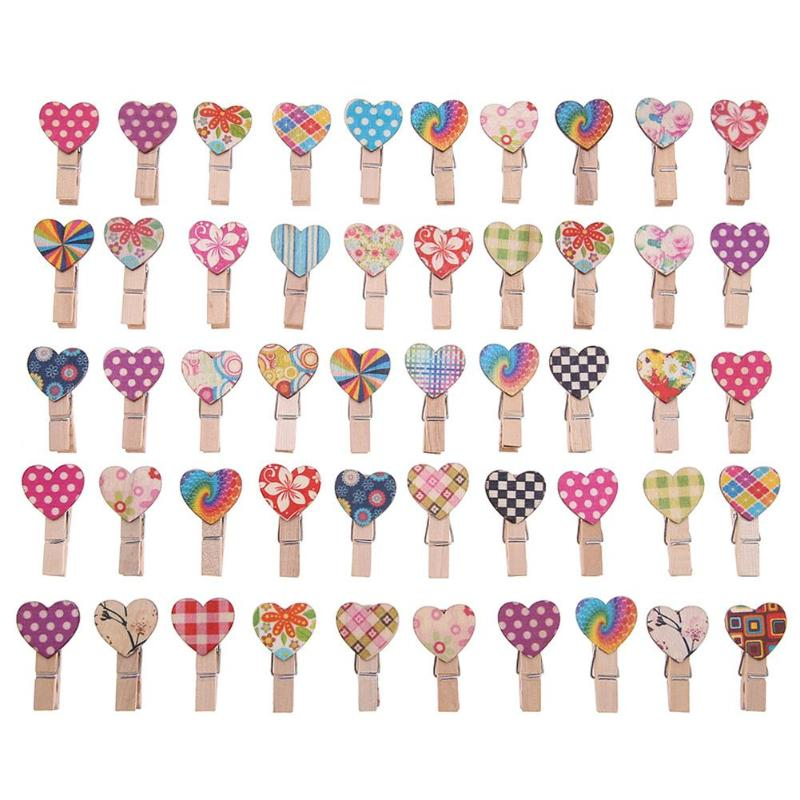 50pcs/set Mini Wooden Love Heart Clothespin Craft Clips DIY Photo Cards Peg Paper Postcard Craft DIY Clips Office Supplies