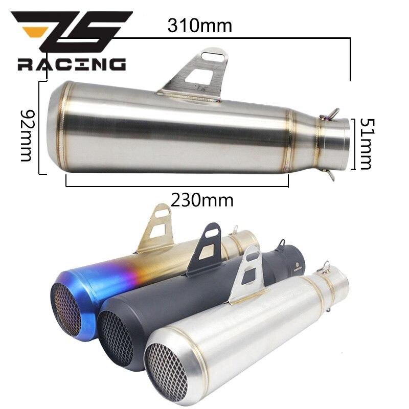 ZS Racing 51mm Motorcycle Exhaust Muffler Pipe Slip On for Kawasaki NINJA ER6N KTM DUKE EXC CRF KLX Motocross Dit Pit Bike Race