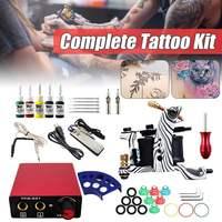 Complete Tattoo Machine Kit Single Coils Guns 5 Colors Pigment Sets Power Tatoo Beginner Grips Kits Permanent Makeup Body Art