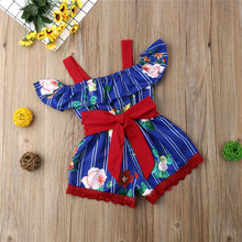 Kids Baby Girls clothes Off Shoulder striped Ruffle Flower print Romper strap sleeveless Bow Toddler lovely Jumpsuit one pieces