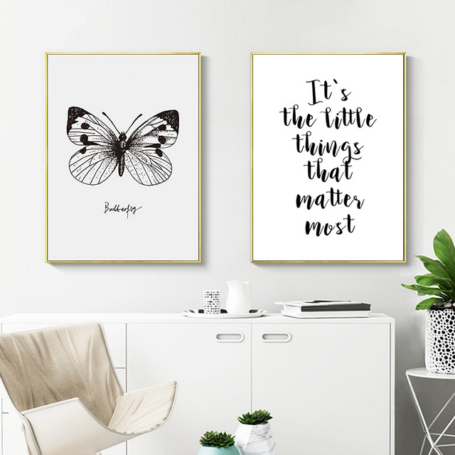 Picture Nordic Love Quotes Motivational Posters Prints Black White Wall Art Canvas Painting